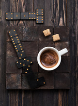 Cup Coffee With Sugar On A Dark Wooden Background