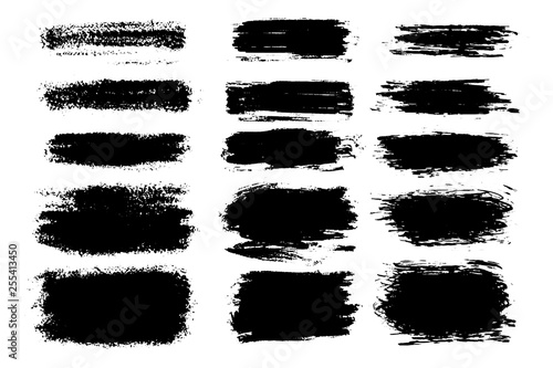 Fototapety, obrazy: Vector set of hand drawn brush strokes and stains. One color monochrome artistic hand drawn backgrounds and graphic resources.