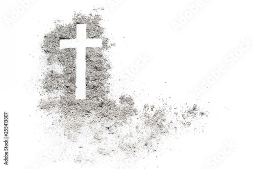 Ash wednesday cross, crucifix made of ash Canvas Print