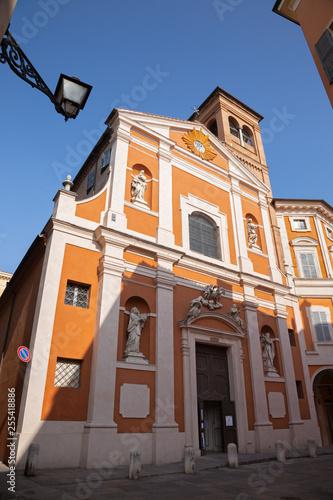 MODENA, ITALY - APRIL 14, 2018: The facade of baroque church Chiesa di San Barnaba.