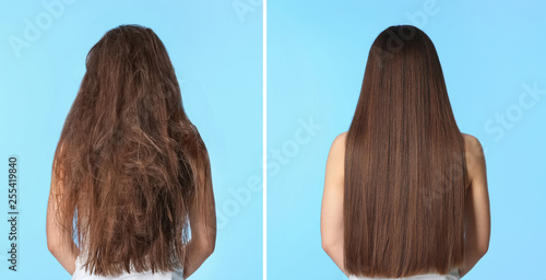 Woman before and after hair treatment on color background Fotobehang