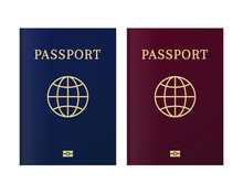 International Biometric Passport Cover Page. Blue And Red Top Page Of A Citizen ID Document.