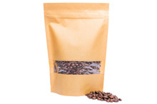 Kraft Plain Paper Doypack Stand Up Pouch With Window  Zipper  Filled With Coffee Beans On White Background