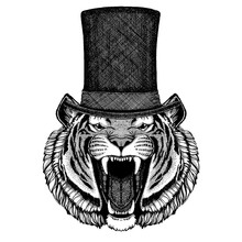 Wild Animal Wearing Top Hat, C...