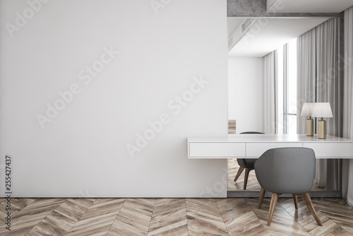 Fotografering White living room interior with table, mock up