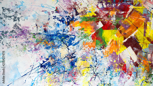 Multicolored abstraction of splashes of acrylic paints. On a white background. #255427478
