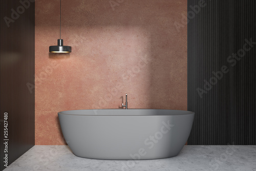 Cadres-photo bureau Pays d Europe Beige bathroom interior, gray tub