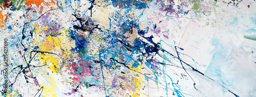 Multicolored abstraction of splashes of acrylic paints. On a white background - 255427690