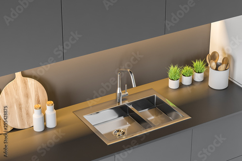 Fototapety, obrazy: Modern disign kitchen top veiw interior. 3d Render. Closeup.