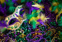 Mardi Gras Mask, Beads And Feathers Decor Background