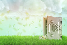 3d Rendering Of An Open Safe On A Fresh Green Lawn With A Few Money Bundles Beside It And A Rain Of Dollar Bills Falling Down From Thick Clouds.
