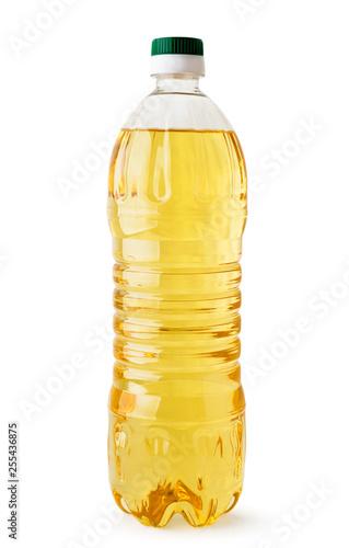 Fototapeta Sunflower oil in bottle close up on a white. Isolated. obraz