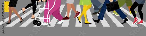 Diverse people's legs crossing a street at a crosswalk, EPS 8 vector illustratio Fototapete