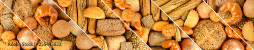 Panoramic set fresh bread products. Wide format.