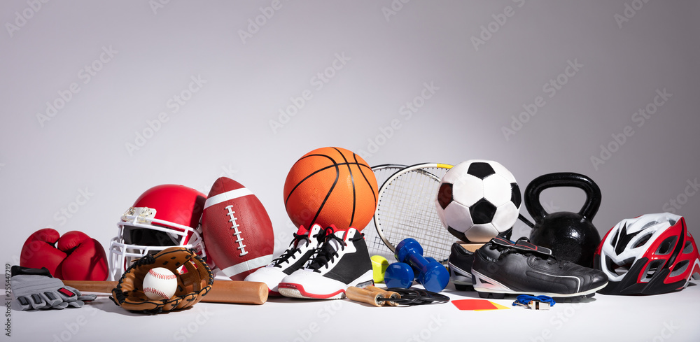 Fototapety, obrazy: Close-up Of Sport Balls And Equipment