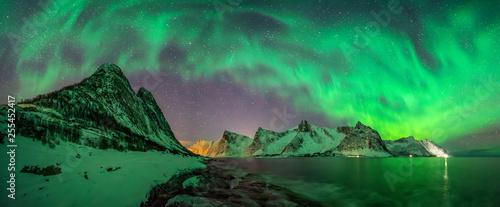 Fotobehang Noord Europa Kliptinden aurora panorama