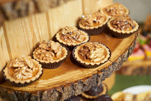 Sweet Tartlet Snack With Walnut And Honey, Close-up. Buffet Catering Food