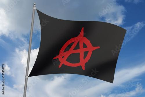 Fotografie, Obraz  3D illustration Beautiful anarchy Flag Waving