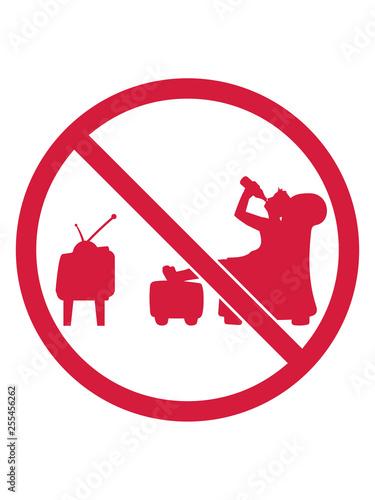 Verboten Schild Kein Bier Saufen Trinken Durst Fernseher