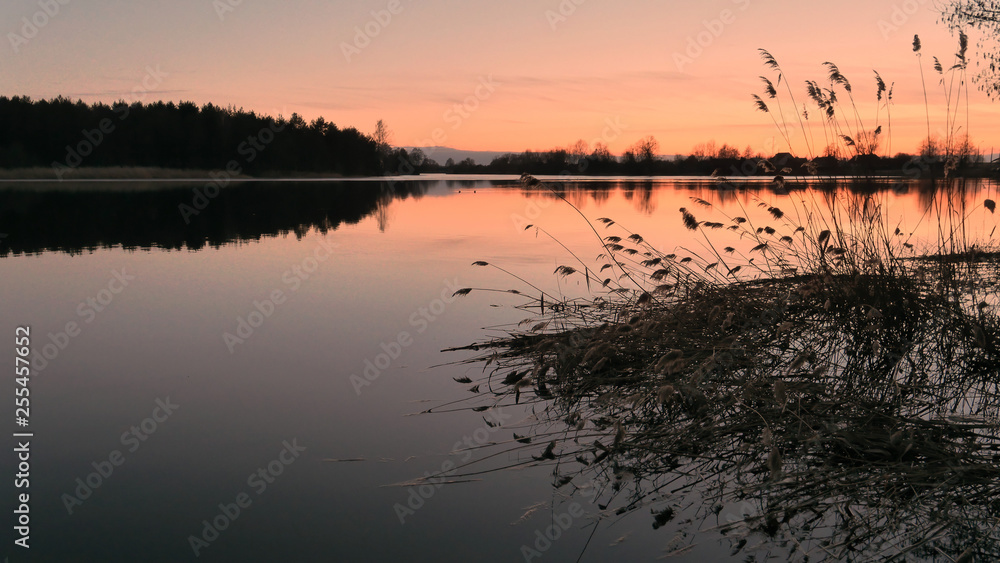 Fototapety, obrazy: red sunset over the water of a village lake