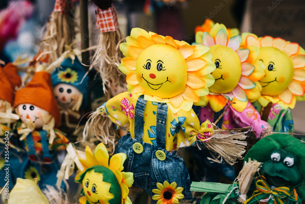 Fototapeta homemade dolls at Shrovetide. traditional Straw effigy, for the traditional Slavic holiday.  stuffed with the head of the sun