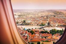 Prague Czechia Town View From Plane Window