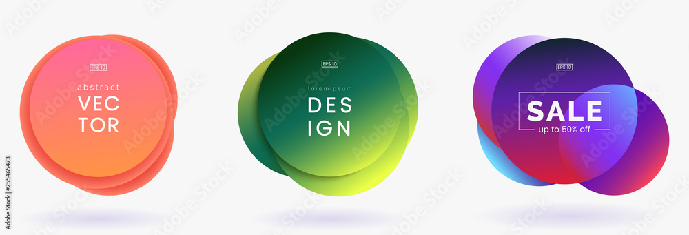 Colorful bubble badges set isolated on white background. Round shapes with trendy gradient. Modern banners collection. Applicable for advertising, announcements, price tags. Vector eps 10.