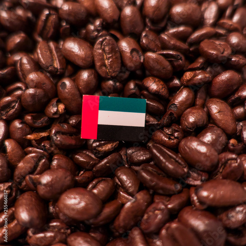 Fotografie, Obraz  a United Arab Emirates, UAE flag placed over roasted coffee beans