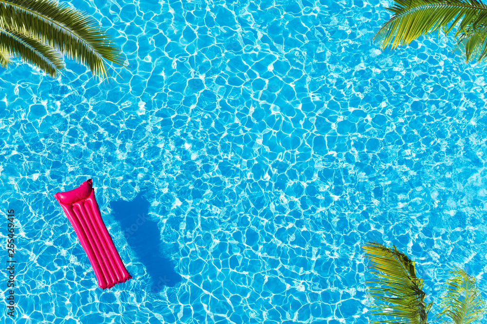 Fototapety, obrazy: Vacation pool with matrass surface and palm trees