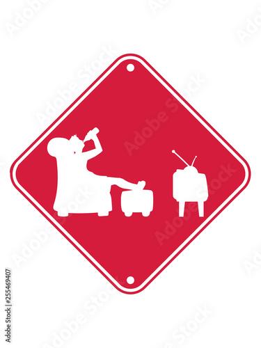 Saufen Hinweis Schild Zone Bier Trinken Durst Fernseher