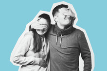 Portrait Of A Happy Young Couple, Man And Woman Covering Eyes Of Each Other.