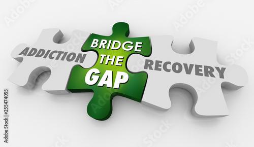 Addiction Recovery Treatment Bridge Gap Puzzle 3d Illustration Canvas Print