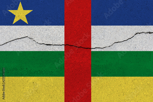 Fotografie, Obraz  Central African Republic flag on concrete wall with crack