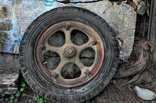Old Wheel And Tire In Port Cos...
