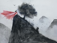 Watercolor Landscape Hand Drawn The Man Hiking Mountain Meet Oriental Woman .Traditional  Asia Art Painting Style.