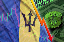 Barbados Flag And Cryptocurrency Falling Trend With Two Bitcoins On Dollar Bills And Binary Code Display