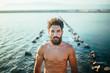 portrait of bearded man in sea