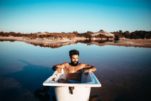 Bearded And Fit Man In A Batht...