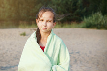 One Teen Girl Wrapped In A Towel.