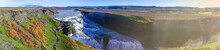 Beautiful Panoramic View Of Gullfoss Waterfall.This Waterfall Very Huge.Most Of The Time Use For Advertising And Film Entertainment Scene For Heaven And