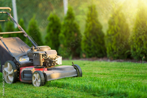 Aluminium Prints Garden Lawn mower cutting green grass