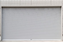 Steel Roll Doors In Front Of The Store Closed
