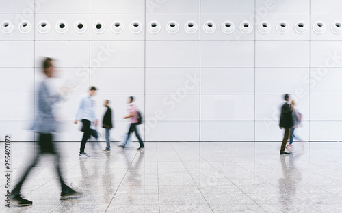 Fototapety, obrazy: Crowd of anonymous people walking on busy city street