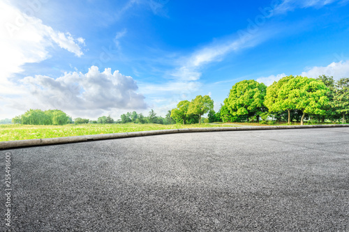 Canvastavla  Asphalt road ground and green woods in the countryside nature park