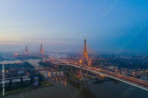Aerial view of Bangkok city building with traffic road on  Bhumibol bridge Wallpaper Mural