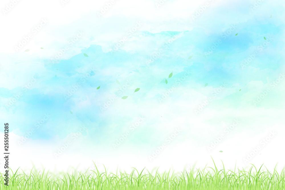 Fototapety, obrazy: 空と草原と舞い上がる葉(水彩タッチ)