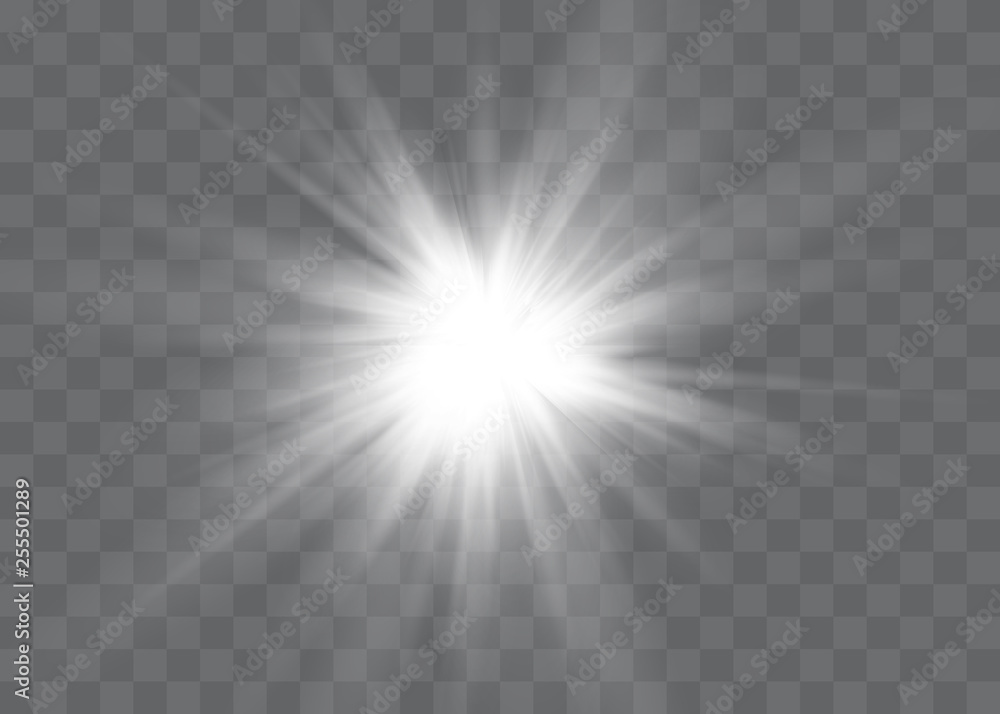 Fototapety, obrazy: White glowing light explodes on a transparent background. Vector illustration of light decoration effect with ray.