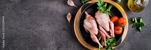 Obraz na plátně Raw uncooked quail