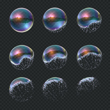 Soap Bubble Explode. Realistic Water Sphere Explosion, Transparent Blue Reflections Isolated Soap Foam Balloon. Vector Exploding 3d Ball