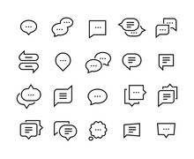 Speech Bubble Line Icons. Talk...